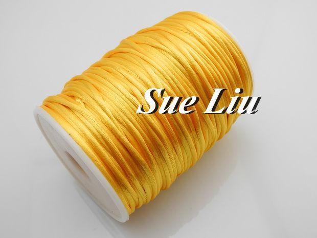 2.5mm 100yds/spool Sunflower (#06) Rattail Satin Cord Chinese Beading Polyester (similar but not nylon) Cord NCP5