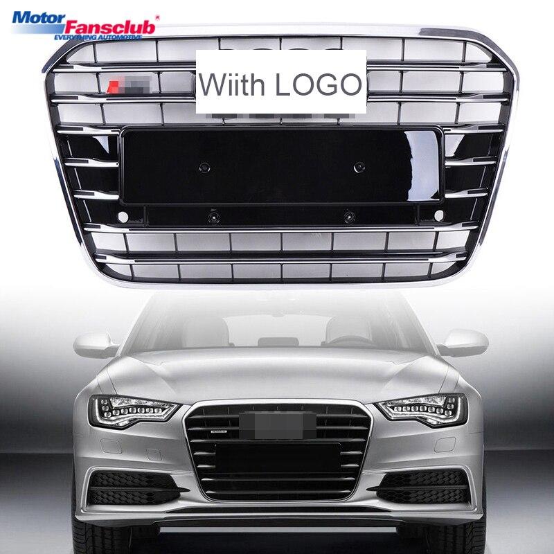 1 pcs De Course De Voiture Grille Pour Audi A6 C7 Grill S6 2012-2015 Emblèmes Noir Radiateur Chrome Front Upper pare-chocs Modifier Maille Nid D'abeille