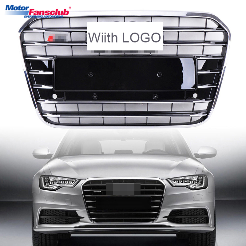 1Pcs Car Racing Grille For Audi A6 C7 Grill S6 2012-2015 Emblems Black Radiator Chrome Front Upper Bumper Modify Mesh Honeycomb 2pcs car racing grille for ford fiesta 2014 2015 2016 grill abs black radiator chrome front bumper upper lower modify mesh