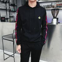 2018 Autumn Mens Track Suit 2 Piece Set Sweatshirt And Joggers Pants Sportsuits Cotton Pullover Hoodies Trouser plus size M 5XL