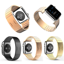Luxury Stainless Steel Replacement Smart Watch Band Link Bracelet with Double Button Folding Clasp for Apple Watch 38mm 42mm