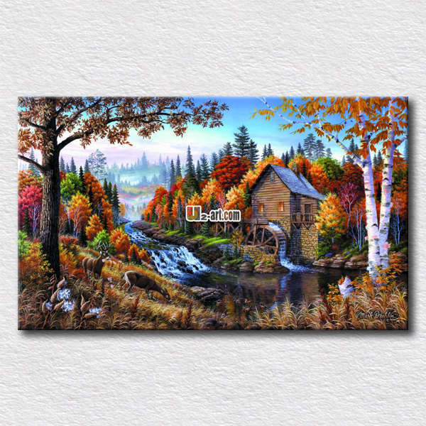 Small house in the autumn scenery paintings on the living room wall pictures high quality canvas