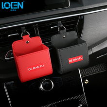 Fashion Car Organizer Box Bag Auto Air Outlet Dashboard Hanging Leather Mobile P