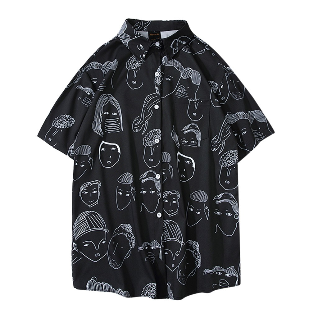 Hot Fashion Summer Men Cartoon Print Turn-Down Collar Loose Short Sleeve Shirt Blouse Men Shirt 2019 Summer New Arrivals