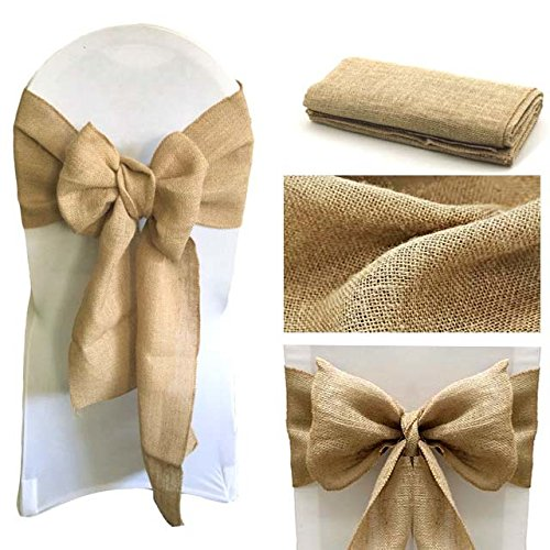 Natural Burlap Chair Bow Sashes Natural Jute Country Vintage for Wedding and Events Supplies Party Decoration Natural Jute Burl in Sashes from Home Garden