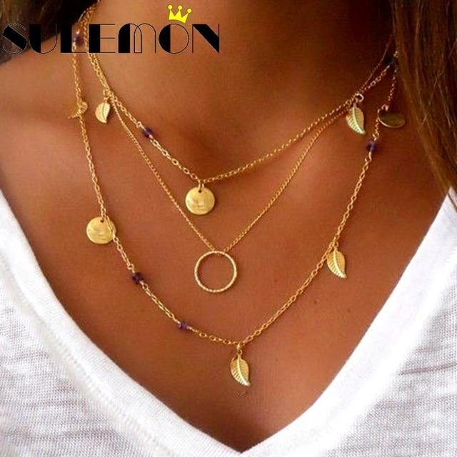 e468c9783e1b Collar largo en capas de Color dorado círculo redondo con lentejuelas  monedas de oro deja C