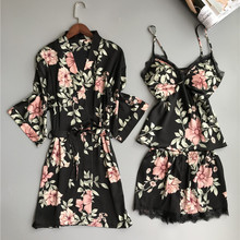 Комплект из 3 предметов, халаты для подружек невесты, сексуальные халаты для женщин, халаты с принтом, кимоно, шелковые халаты для невесты, Badjas размера плюс