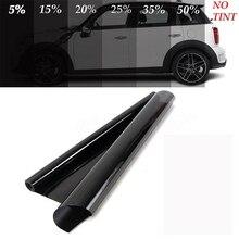50*600cm siyah pencere filmi için araba pencere camı VLT otomatik ev ticari UV + yalıtım araba filmi yan Windows için