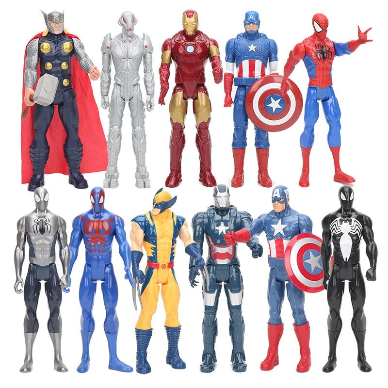 30cm Marvel Avengers 4 Endgame Captain America Ironman Spiderman Thor Ultra Venom Wolverine PVC Action Figure Toy