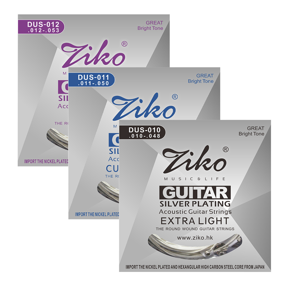 ZIKO DUS Series Acoustic Guitar Strings 010-048 011-052 012-053 Inch Hexagon Carbon Steel Core Silver Plating Wound 3 sets alice aw466 light acoustic guitar strings plated high carbon steel