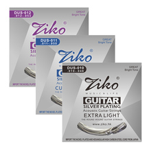 ZIKO DUS Series Acoustic Guitar Strings 010-048 011-052 012-053 Inch Hexagon Carbon Steel Core Silver Plating Wound BUY 3 GET 1