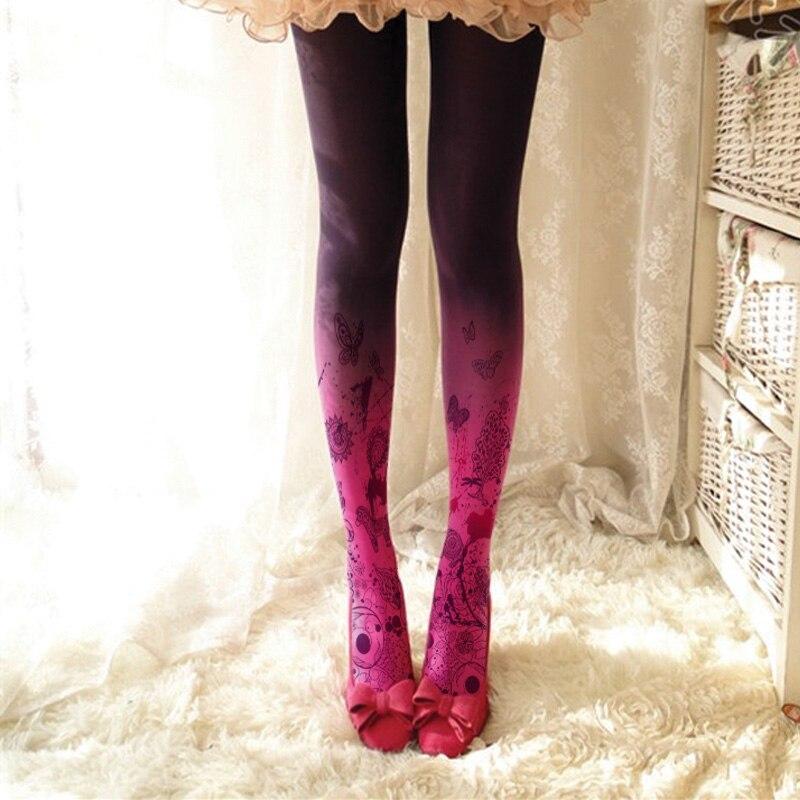 Fashion Print Colored Tights Women Pantyhose Stockings Hosiery
