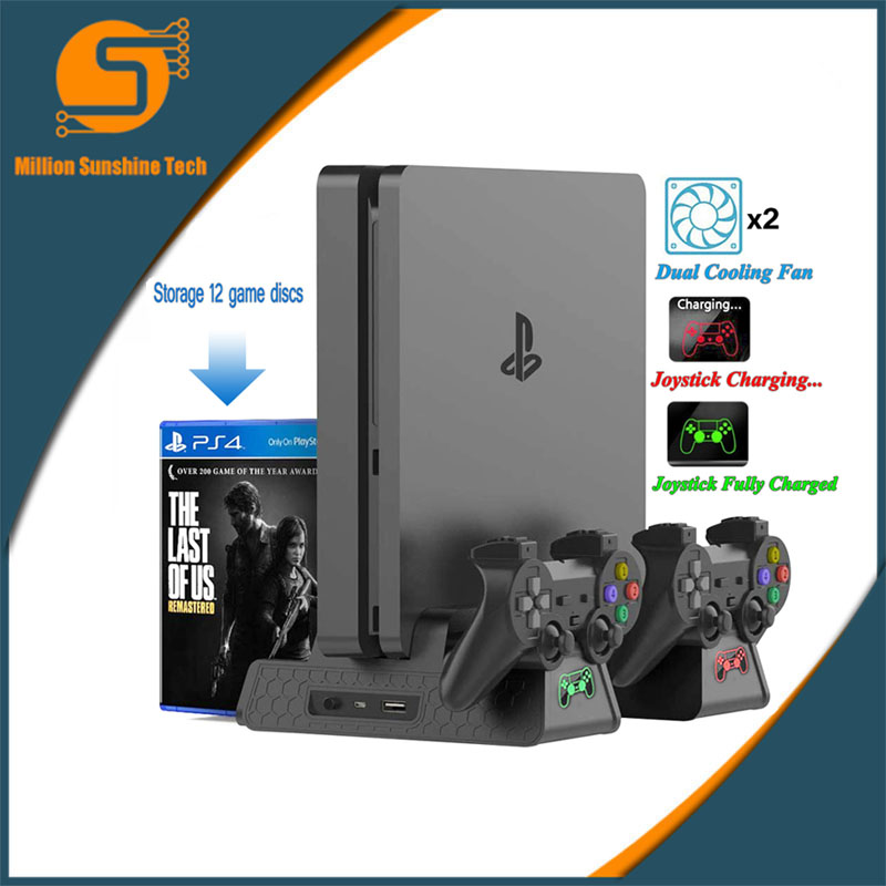 PS4/PS4 Slim/PS4 Pro Vertical Console Cooling Fan LED Controller Charger Game Disk Storage Stand Tower Base