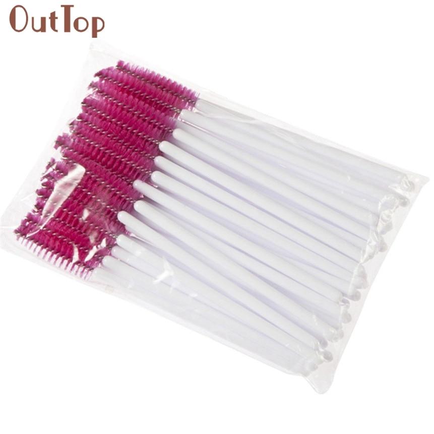 Drop Ship Hot Sale!50pcs Disposble Eyelash Brush Mascara Wands Makeup Brushes Cosmetic Applicator Tool 170613