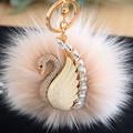 Luxury Car Rhinestone Fox Fur Ball Key Chain women's car keychain plush fur ball swan keychain charm Multi Color