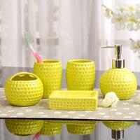 Fashion Five Pieces Bathroom Accessaries Set Ceramic Kit Brief Bathroom Supplies Wedding Gifts