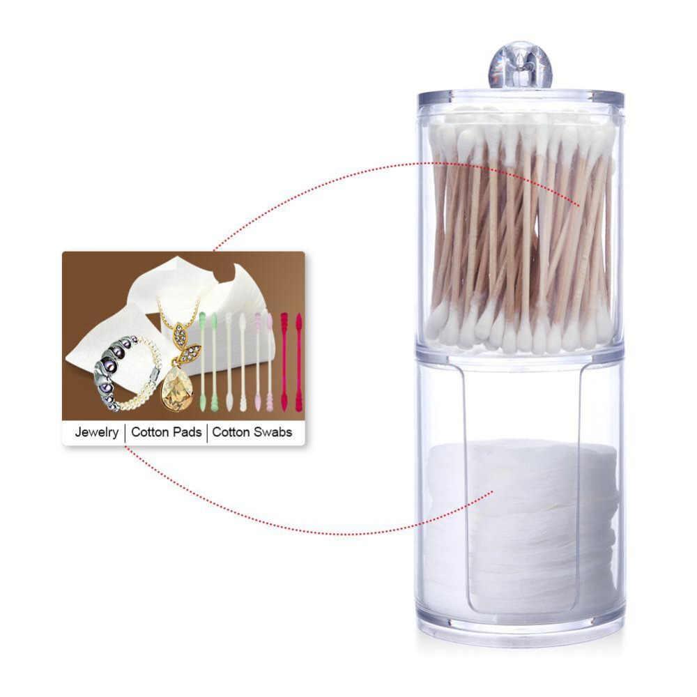 Двухслойная цилиндрическая акриловая хлопковая коробка для хранения макияжа, контейнер для удаления ногтей, чехол для хранения, крышка (купить один получить один бесплатно)