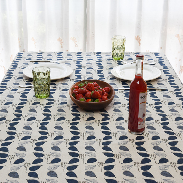 2017 New Spring Europe Simple Leaves Print Linen TableCloth High Quality  Tablecloth Table Cover Manteles Para