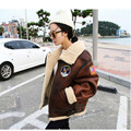 2016 South Korea suede lambs fur coat one European station badge motorcycle jackets thicker jacket woman