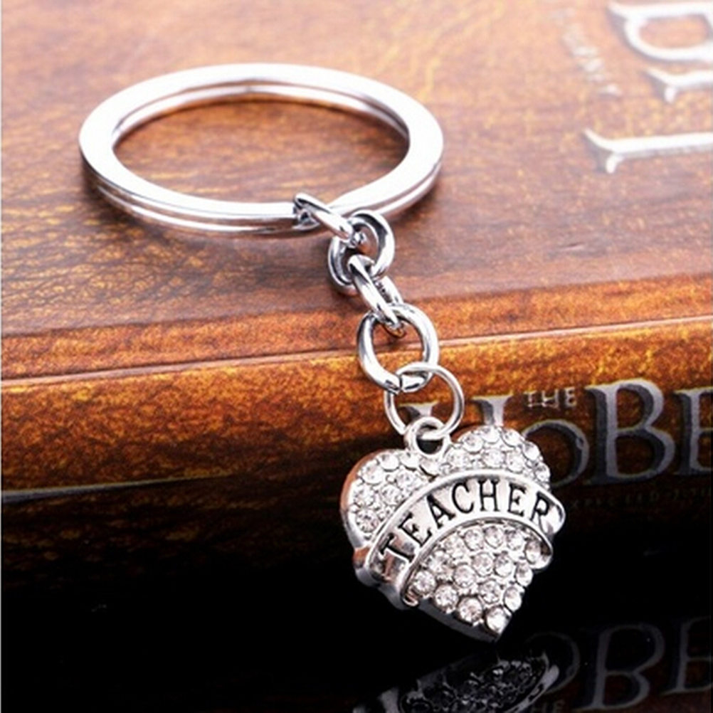 Alloy Crystal Key Chain Love Heart Teacher Keyring Student Teachers Day Gifts Friend Jewelry Charm Key Chain Wholesale 1pc
