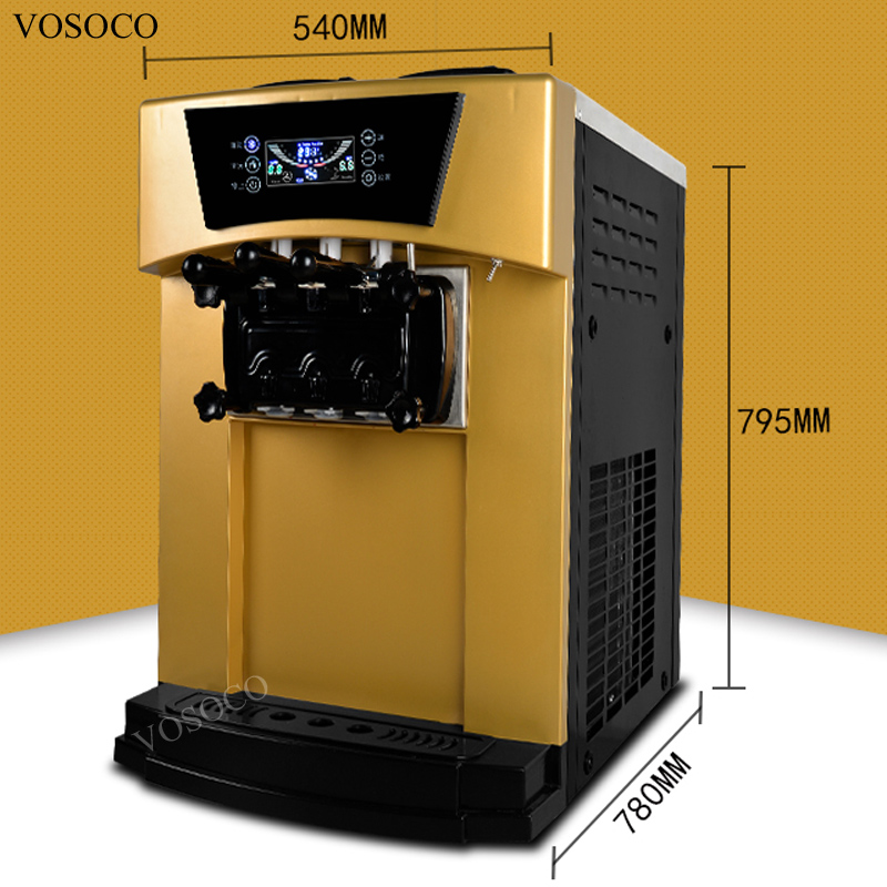 VOSOCO Ice cream machine LCD touch screen Commercial soft ice cream maker automatic 3 color stainless steel ice cream machine