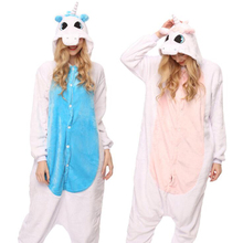 Adult Anime Kigurumi Onesies Blue Unicorn  Costume For Women Animal Pink Stitch Onepieces Sleepwear Home Cloths Girl