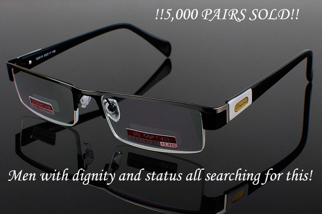 8864212960  CLARA VIDA MEN TITANIUM ALLOY SENATOR BUSINESS HIGH STRENGTH READING  GLASSES +4.5 +