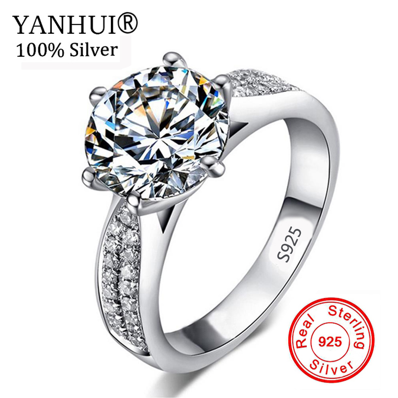 90% OFF!!! Never Fading Real 925 Sterling Silver Rings Women 2 Carat CZ Diamant Engagement Ring Wholesale Wedding Jewelry RR006