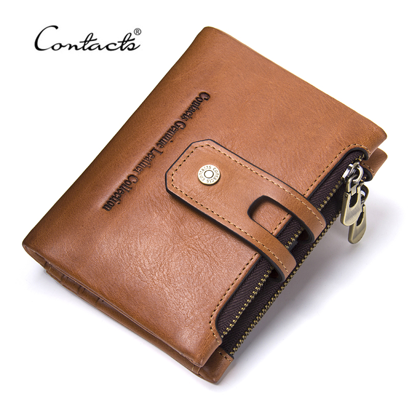 CONTACT'S 2019 New Arrival Genuine Leather Men's Wallet For Men Small Zipper Organizer Wallets Cash Carteira For Man Coin Purses 5