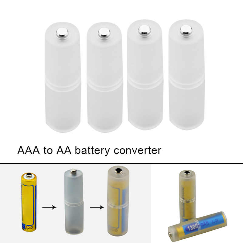 4pcs AAA to AA Size Battery Converter Adapter Batteries Holder Durable Case Switcher