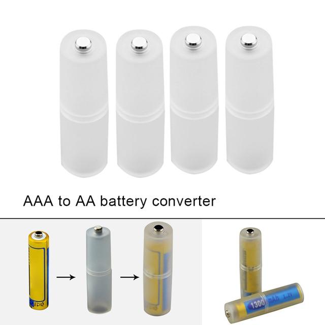 4 pces aaa para aa tamanho bateria conversor adaptador baterias titular caso durável switcher