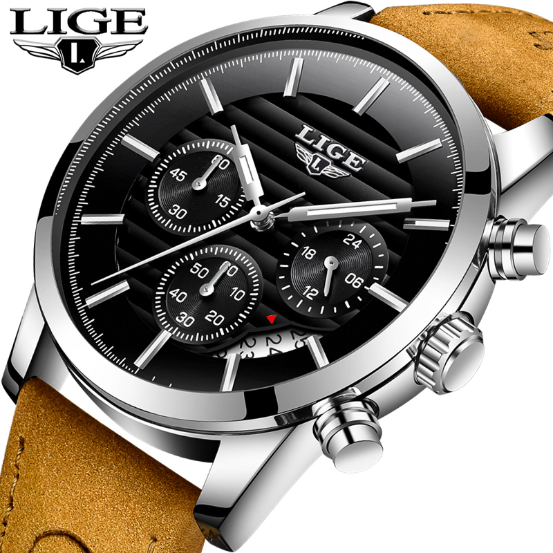 LIGE Mens Watches Top Brand Luxury Fashion Sport Quartz Wrist Watch Men Leather Date Waterproof Business Watch Relogio Masculino цена