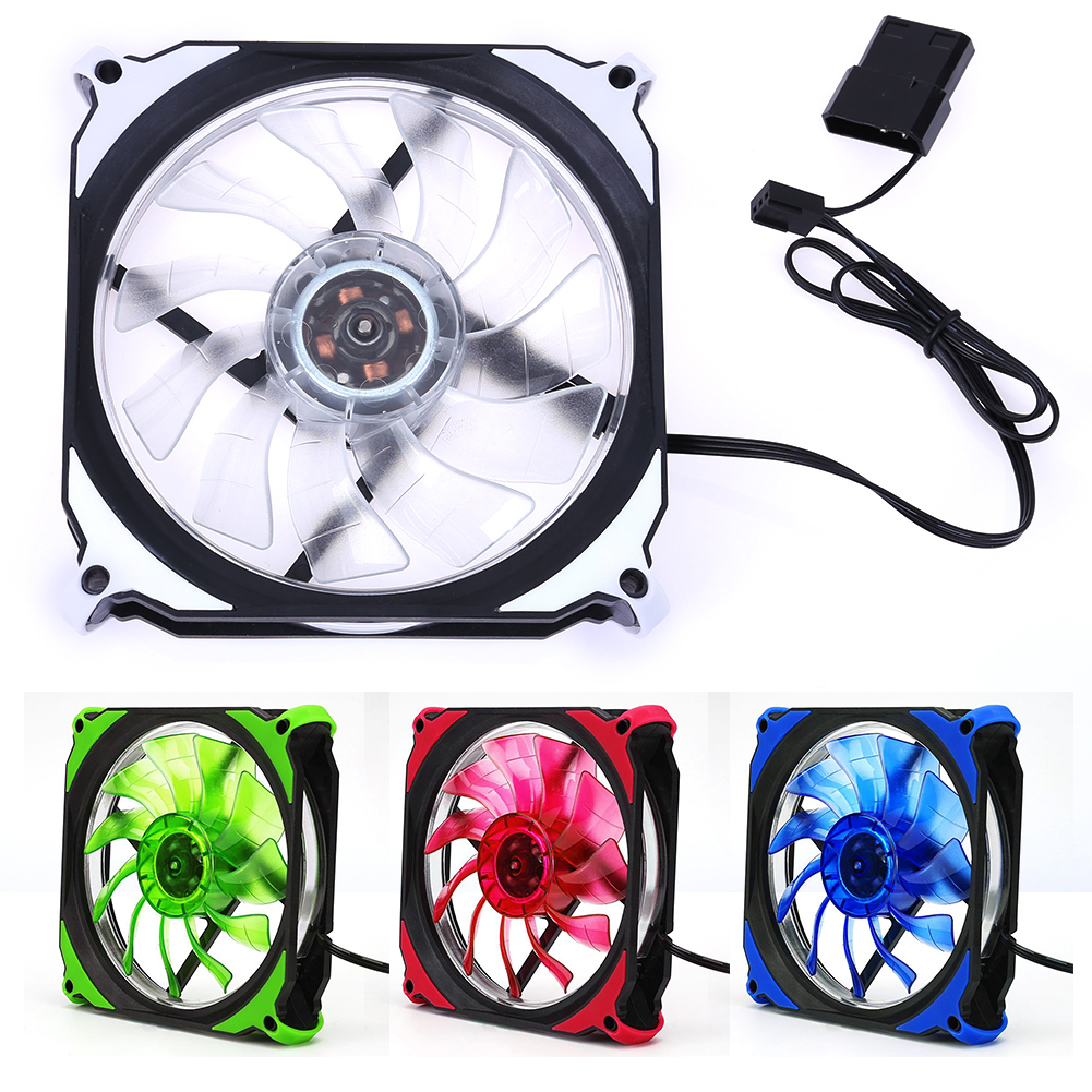 High Quality Ultra Quiet Silent Cooling Fan 12cm 120mm 3Pin 4Pin PC Computer LED Cooling Brushless Fan Computer Components qqv6 aluminum alloy 11 blade cooling fan for graphics card silver 12cm