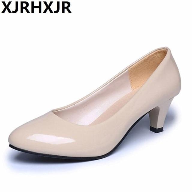 Women's Pumps Nude Shallow Mouth Women Office Work Heels Shoes Elegant  Ladies Low Heel Outdoor Shoes