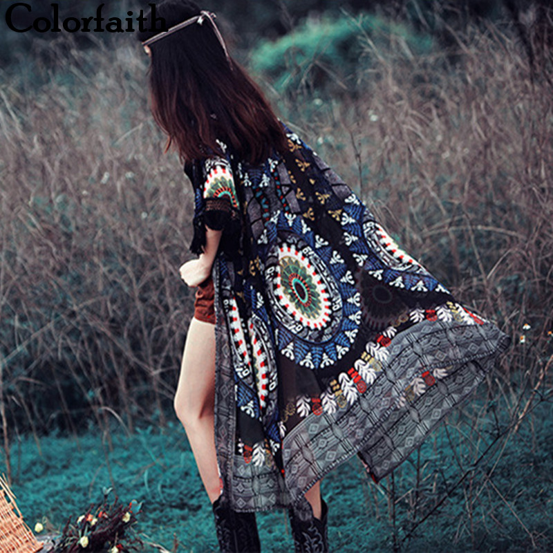 Fashion 2016 Vintage Tribal Tassels Printed Kimono Cardigan Women Tops Long Chiffon Shirt Blouse Roupas Femininas Camisa CA004