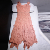 Sexy pink hollow out strapless lace summer dress women 2018 irregular holiday beach dress high quality self portrait dress