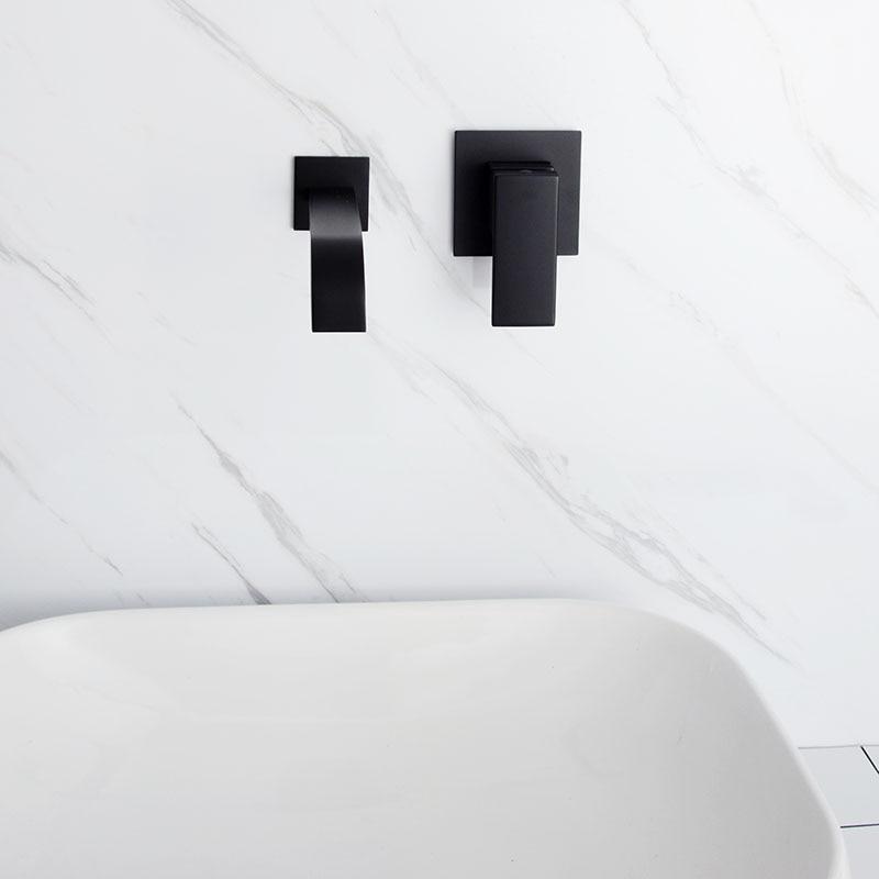 Mitigeur d'eau mural en laiton noir et Chrome mat pour salle de bain robinet mitigeur en laiton de qualité pour salle de bain robinet noir chaud et froid - 2