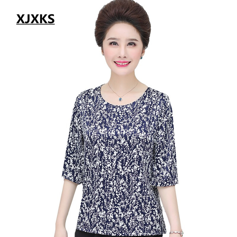 XJXKS Summer season cool and cozy top quality girls style blouses casaul type mom clothes girls's chiffon tops Blouses & Shirts, Low cost Blouses & Shirts, XJXKS Summer season...