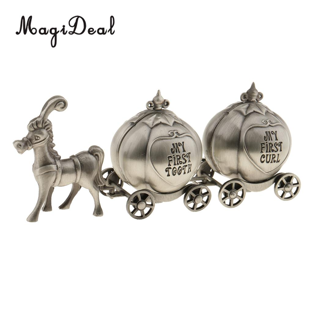 MagiDeal High Quality 1Set Vintage My First Curl & Tooth Box Horse And Pumpkin Carriages Craft for Baby Shower Birthday Decor