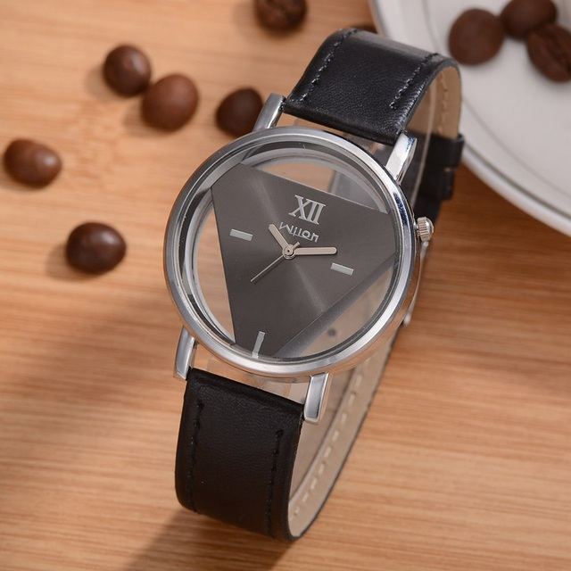 Leather Strap Wrist Watches For Women Simple Triangle Sided Hollow Fashion Watch