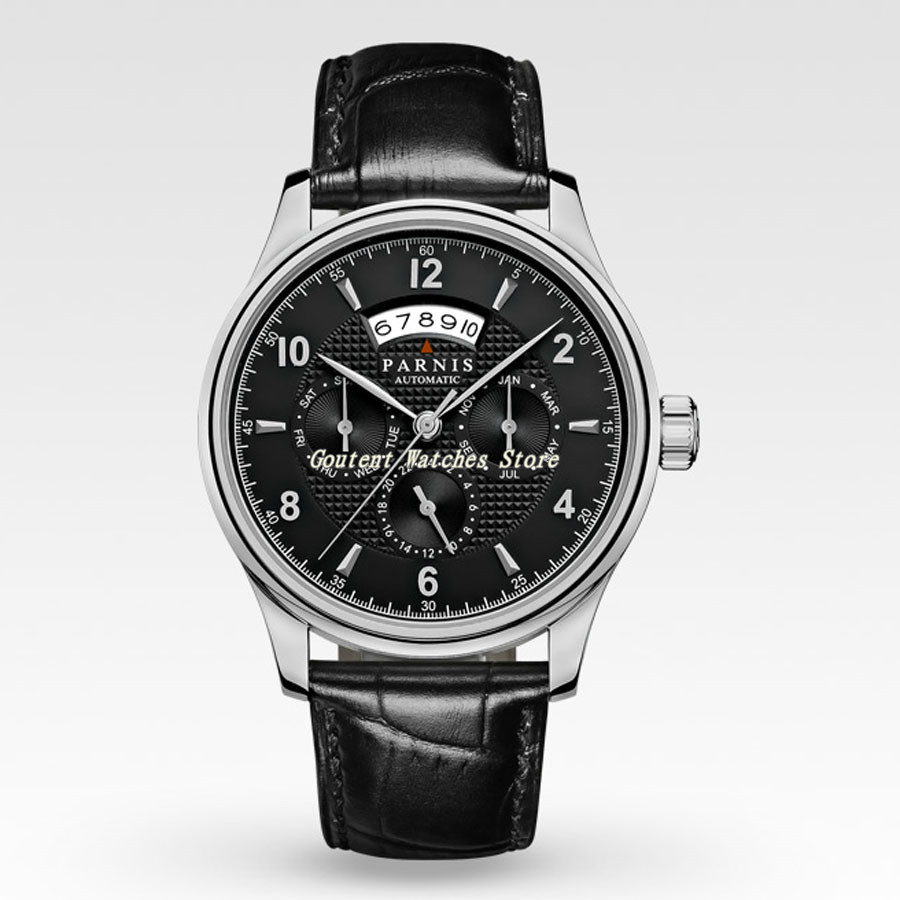 43mm Parnis Date Month Black/White Dial 26 Jewels Miyota 9100 Automatic Men's Watch-in Mechanical Watches from Watches    2