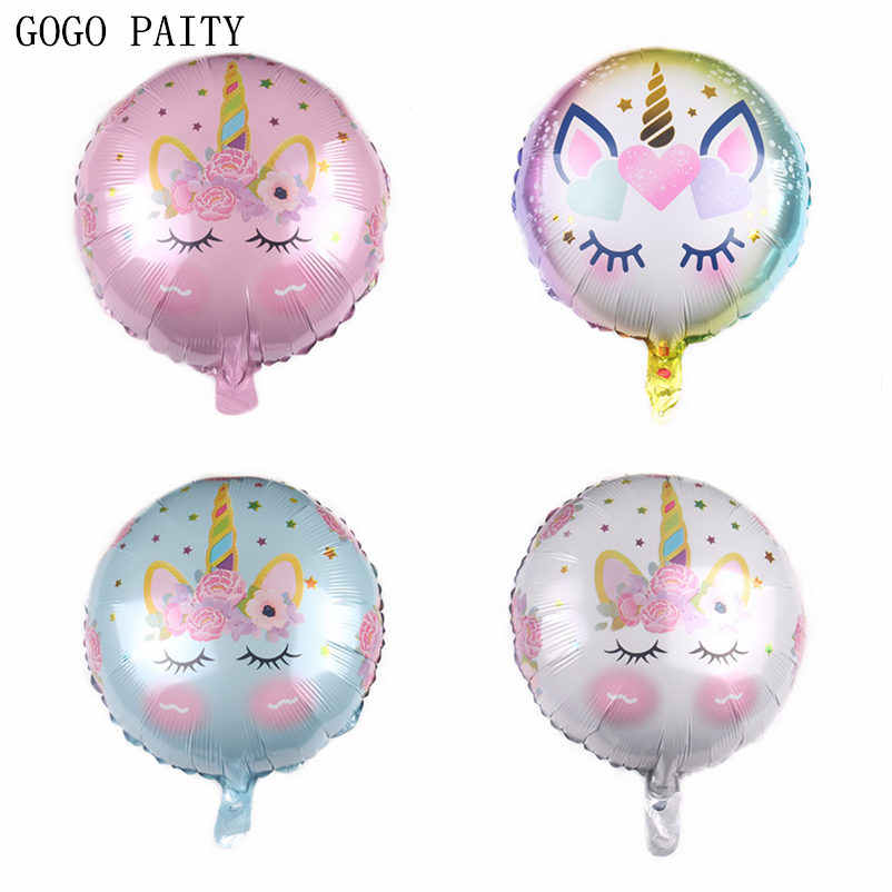 GOGO PAITY New 18-inch round Unicorn aluminum balloon Children's holiday Birthday party decoration balloons Wholesale