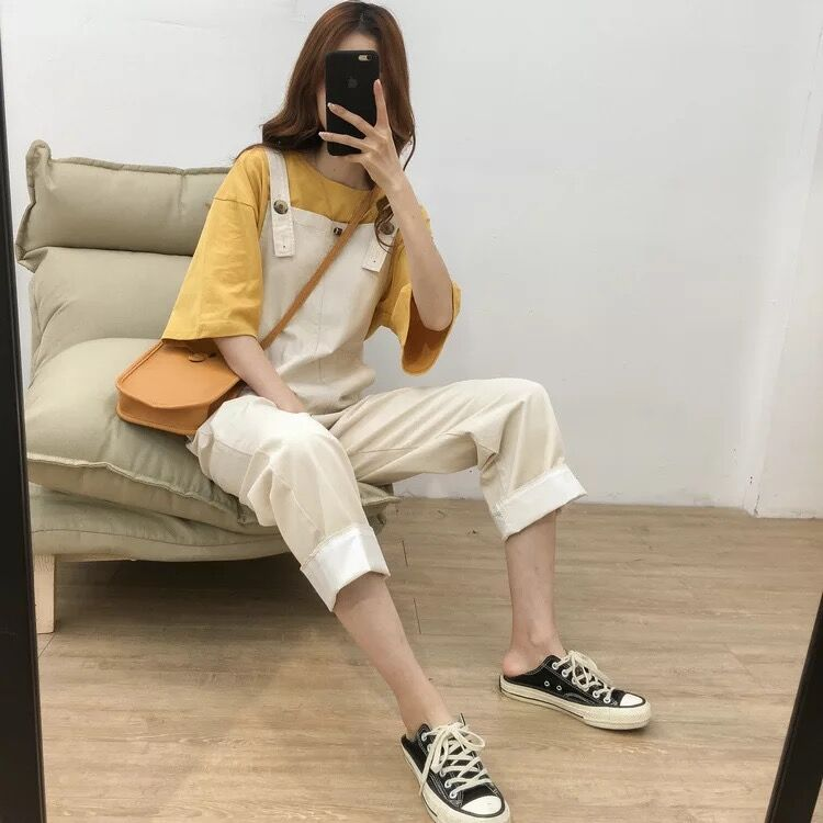 Women overalls linen straight-legged trousers student pants holiday jumpsuits vintage OL clothing