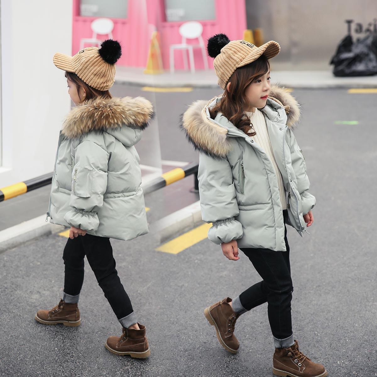 Kids Down Jacket Boys Girls 90% White Duck Down Coat Children Raccoon Fur Hooded Baby Thicken Warm Clothes luxury raccoon fur hooded 90