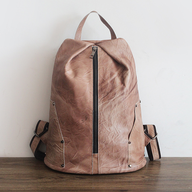 ФОТО Original handmade spray color retro nostalgia first layer of leather women's shoulder bag Korean leather travel backpack female
