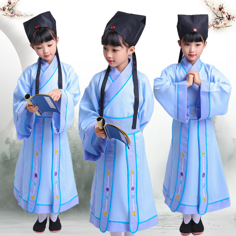 ancient chinese national student Cosplay Costumes Talented person Hanfu three-character china girl boy adult performance costume