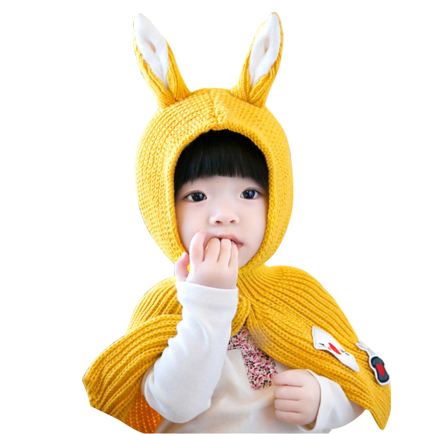 Meetcute Baby Hats with Ears Newborn Baby Warm Knitted Beanie Caps Hooded Scarf Cap for Boys and Girls
