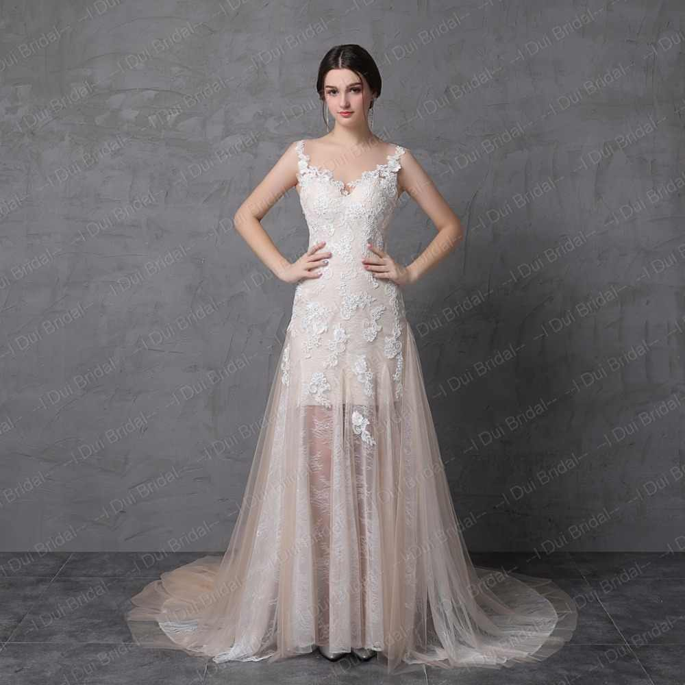 A line Light Wedding Dresses Real Photo Sleeveless Lace Appliqued Illusion Back and Neckline Bridal Gown