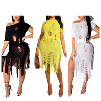 2PCS/SET Bikini Cover Up Hollow out tassel Crochet Tops+ skirts Beach Dress Women Summer Cover Ups Bathing Suit Beach Wear