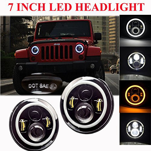 7 LED Headlights Bulb with White Halo Angel Eye Ring DRL & Amber Turn Signal Lights for Jeep Wrangler JK LJ CJ for Hummer H1 H2 7 led headlights bulb rgb halo angel eye with bluetooth remote for 1997 2016 jeep wrangler jk lj cj hummer h1 h2 headlamp
